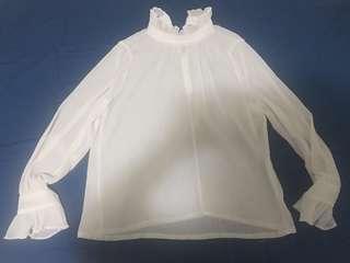 White Long Sleeves Ruffled Top #SwapAU