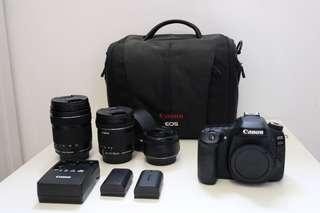 $1700 - Canon 80D (body) + Canon EF 50mm+ EF-S 10-18mm+ EF-S 18-135