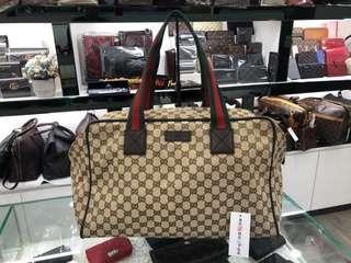 ㊣東區正精品㊣GUCCI 153240 咖啡色緹花布面綠紅綠手提包行李袋旅行包 RZ0544