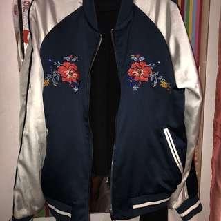 Bershka embroidery / embroidered satin bomber jacket