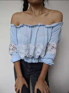 blue floral off shoulder top