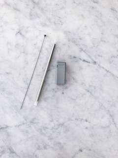 Grey foldable stainless straw