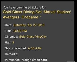 [Gold Class x2 tix] Avengers Endgame