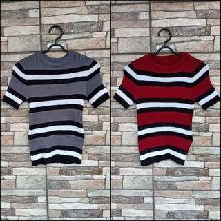 BLOUSE STRIPE GREY/MAROON (Harga per pcs)
