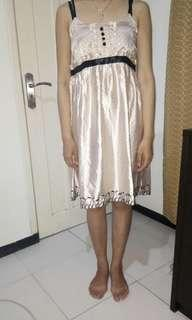 Satin Cream Polkadot Dress