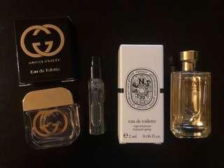 香水sample - Gucci guilty 5ml, diptyque 2ml, prada La Femme 9ml