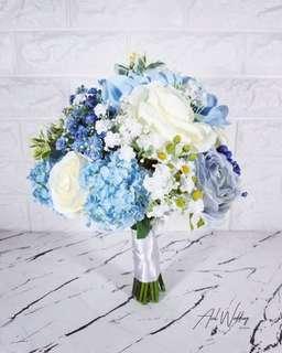 手工定製結婚藍色絲花球💐💙