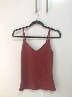 Sportsgirl ribbed soft red singlet XS