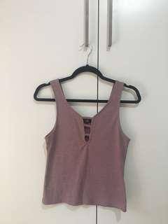 Cotton On mauve ribbed singlet S