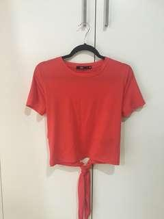 Sportsgirl red tie back T-shirt S