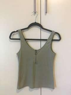 Cotton On khaki ribbed singlet M