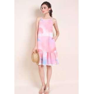 30976c376e4 NM NEONMELLO MADEBYNM DIXIE ABSTRACT DROPWAIST HEM TRAPEZE IN WATERCOLOUR  PINK XS
