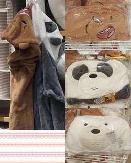 預購MINISO名創優品熊熊遇見你咱們裸熊we bare bears連帽空調毯冷氣毯