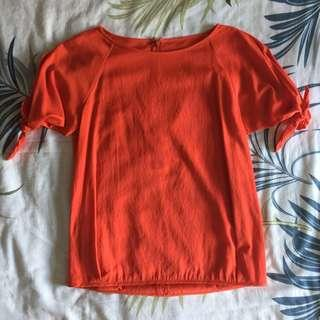 🚚 Reddish Orange/ Blue Blouse w/ Knotted Sleeves