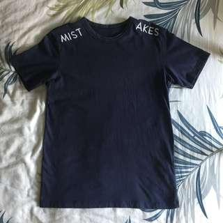 🚚 Blue 'Mistakes' T-Shirt (Pull & Bear)