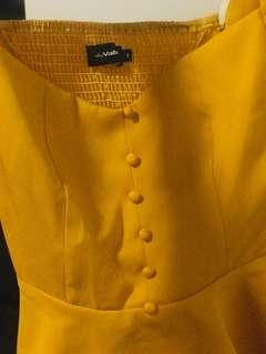 Mustard square neck long sleeves