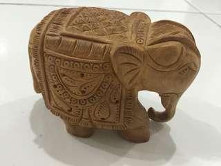 Elephant Figurine Wood