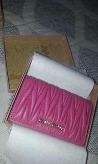 Miu Miu 卡片套 名片 銀包 matelasse pink genuine leather cardholder