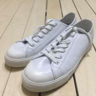 無印良品 MUJI 休閒鞋 帆布鞋 皮革 柔白