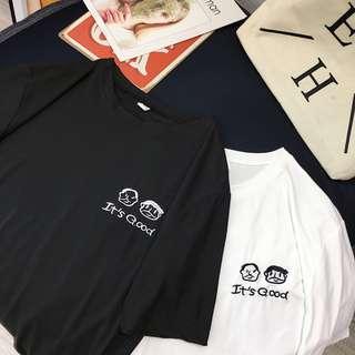 現貨2019 春夏新款 韓版 學院風 刺繡 logo  百搭 情侶裝 姊妹裝 寬鬆 五分袖 上衣 短袖 T恤