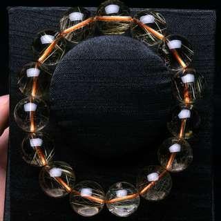 Clear Golden Hair Rutilated Quartz Crystal Bracelet 15mm