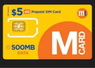 M1 4G Prepaid SIM card $5