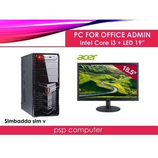 PC Rakitan Intel Core I3 & LED 19 Inch For Office - Admin - Sekolah