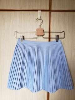 包順豐站 粉藍色百摺短裙 light blue Skirt