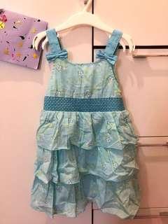 Mini Car 粉藍色碎花ruffles連身裙