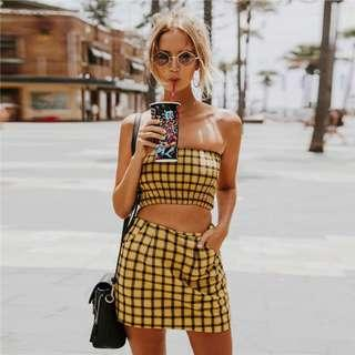 Yellow Grid Two Piece Set