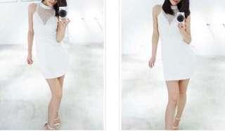 透膚白色網紗拼接洋裝小禮服