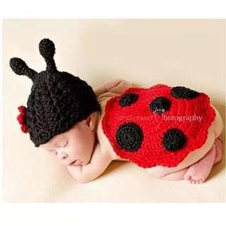 🚚 瓢蟲寶寶攝影服裝新生兒道具服裝 滿月