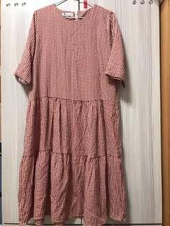 🚚 [Frommimori]紅色格紋蛋糕裙