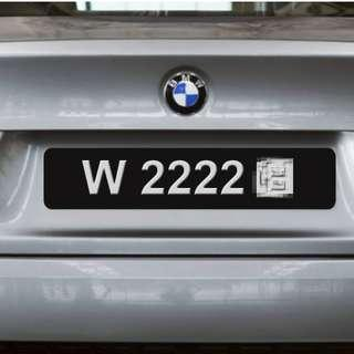 CAR PLATE W2222- For Sell