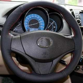 Toyota Vios steering wheel cover diy hand stitch sewing