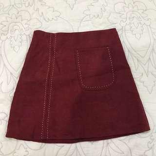 Maroon red skirt