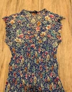 Zara Clinched Waist Floral Top