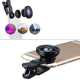 3-in-1 Wide Angle Macro Fisheye Lens Camera Kits Mobile Phone Fish Eye Lenses with Clip  All Cell Phones