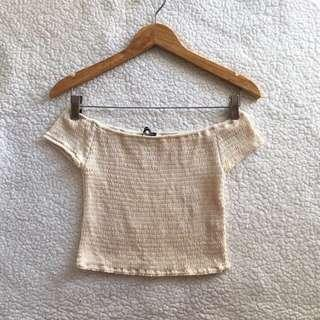Authentic brandy melville pale yellow charlene off shoulder top