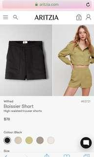 Aritzia Wilfred Boissier short xs black