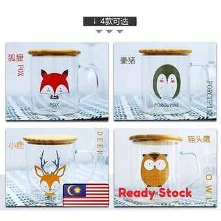 READY STOCK Cute Animal Glass Mug W Bamboo Lid