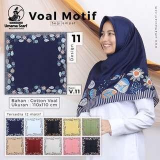 Jilbab Segiempat Voal Motif