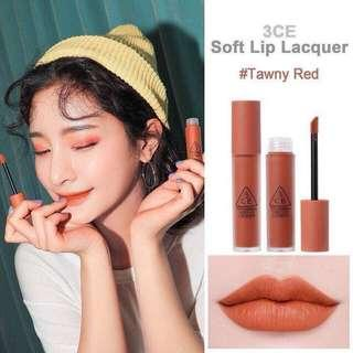 3CE soft lip lacquer in Tawny Red