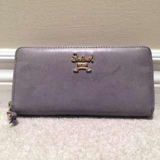 Purple Grey faux Leather Salad Zip Around Wallet