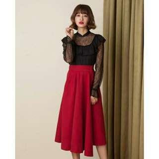 現貨Marjorie 紅色 顯瘦一片裙S