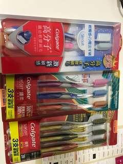 Colgate slim soft 全新 牙刷 三包 共八支