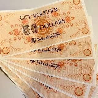Takashimaya vouchers $220