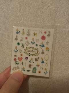 Disney Alice nail art sticker 迪士尼愛麗絲 指甲貼紙