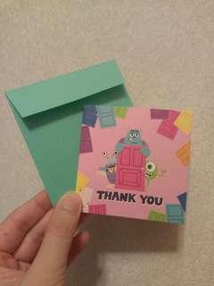 Disney Monster Inc boo mini card 迪士尼 怪獸公司 多用途 小型賀卡連信封