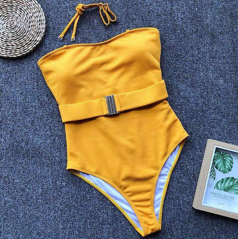 性感黄色抹胸泳衣